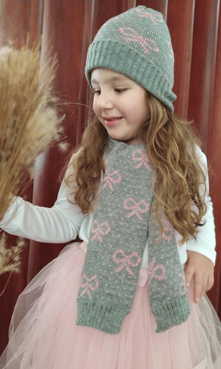 kit touca e Cachecol infantil Julia