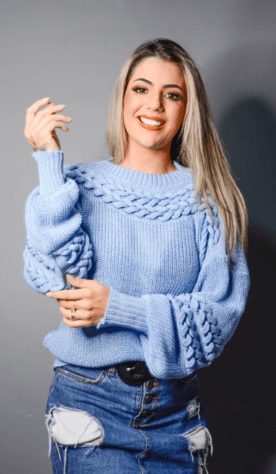 Blusa tricot trança Mirela