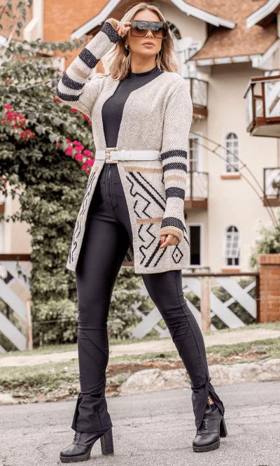 Casaco cardigan tricot mousse marcela
