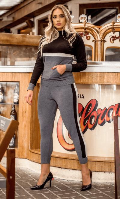 conjunto tricot modal com listras Ágata