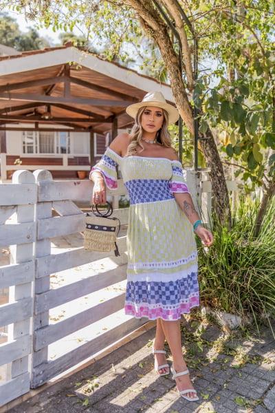 vestido tricot xadrez kátia