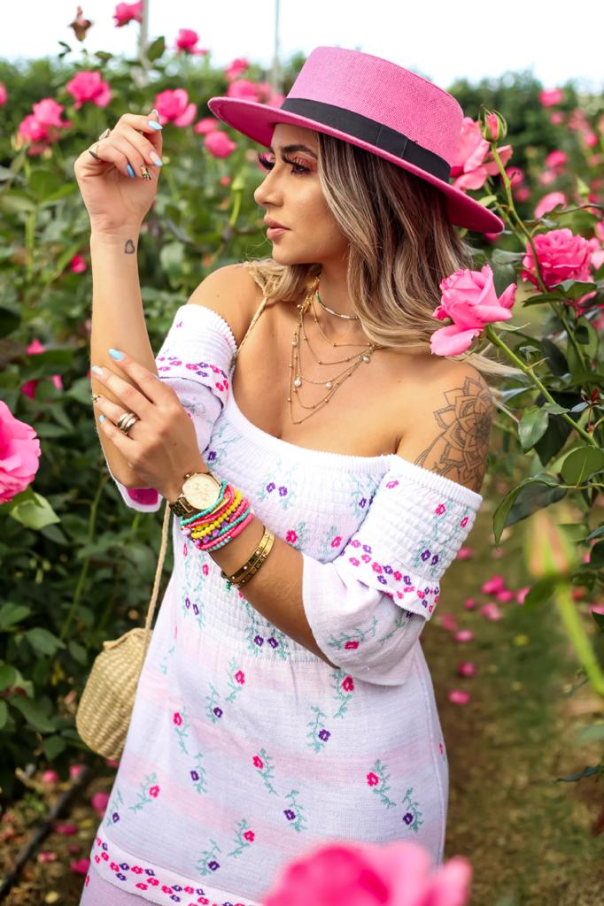 vestido tricot ciganinha floral carol